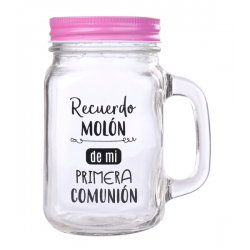 GLASS JAR WITH LID AND PHRASES CHEERFUL FOR GIFTS COMMUNION - PINK