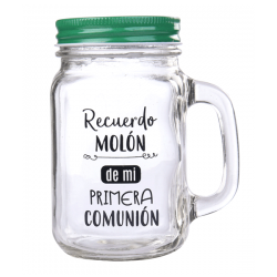 JAR GLASS GIFT OF COMMUNION IN A PHRASE I REMEMBER MOLON – GREEN