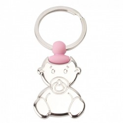 KEYCHAIN WITH SILHOUETTE OF BABY WITH PACIFIER AND DETAIL PINK