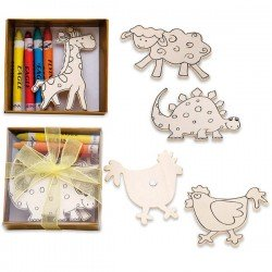 DETAIL COLORING IN BAPTISMS - WEDDINGS - ANIMALS WOODEN WITH MAGNET