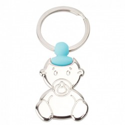 KEYCHAIN WITH SILHOUETTE BABY PACIFIER - BLUE- GIFT CHRISTENING