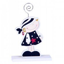 CLIP PHOTO HOLDERS WOODEN PIRATE GIRL
