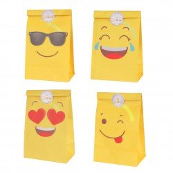 "LOTE DE 12 BOLSAS DE PAPEL ""EMOTICONOS"" PARTY"