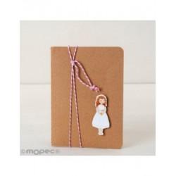 Llibre petit adornat figura nena Comunió vestit curt