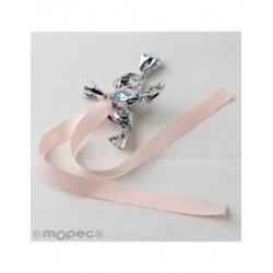Ornament 3 minifruits silver pink ribbon, min.6*