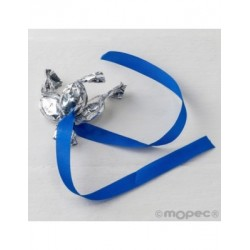 Ornament 3 minifruits silver ribbon electric blue, min.6*