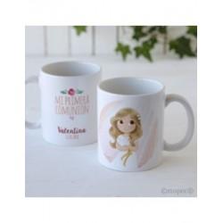 Tasse en céramique de la fille de la Communion dans la boîte de cadeau