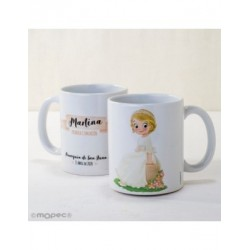 Cup ceramic girl Communion sitting in the bank in gift box