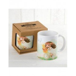 Cup ceramic girl Communion on bike with gift box