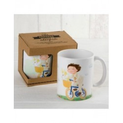 Cup ceramic child Communion on bike with gift box
