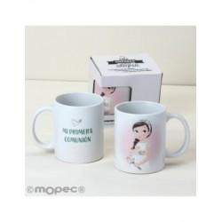 Tasse en céramique de Communion fille romantique dans une boîte cadeau