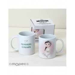 Cup ceramic Communion girl romantic in gift box