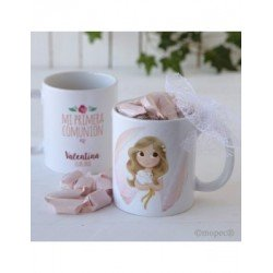Cup ceramic girl's Communion in gift box with 7 candies