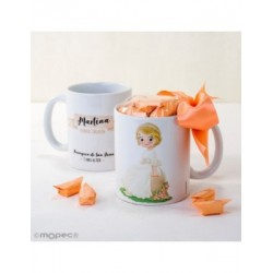 Cup ceramic girl Communion sitting on a bench with 7caramelos