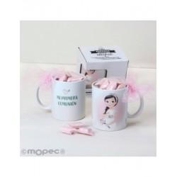Coupe de Communion fille romantique 7caramelos dans une boîte cadeau