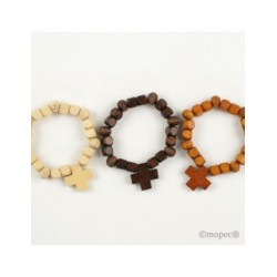 Bracelet wood with cross 3colores stdos. min. 15