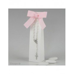 Pulsera rosario en caja con 3 peladillas choc.