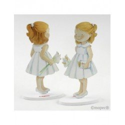 Figure cake metal girl in white dress 16cm