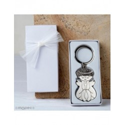 Metal key ring Angel sitting on white box adorned