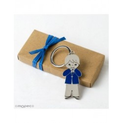 Keychain child communion jacket blue box kraft adorned