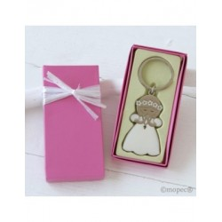 Key chain communion girl gift case pink embellished