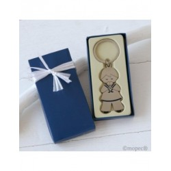 Key chain communion boy in gift case blue embellished