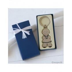 Llavero comunión niño en estuche regalo azul adornado