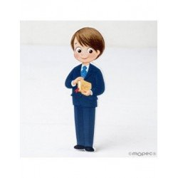 Figure 2D wood child's Communion suit and Biblia3,6x11cm, min.6
