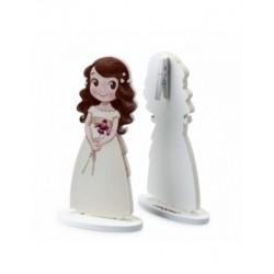 Portafoto niña lirio vestido blanco en madera 12cm, min.20