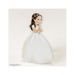 Figure 2D adhesive girl Communion with crown 7x11cm, min.15