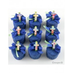 Cajita azul con 3 peladillas pinza cruz stdo., min.15*