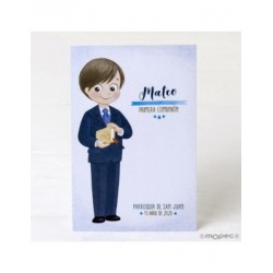 Picture boy Communion suit blue and bible, price 25u.