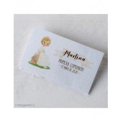 Card. precut girl Communion sitting bank 30xhj.,min.5