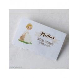 Card. precut girl Communion sitting bank 30xhj.,min.5
