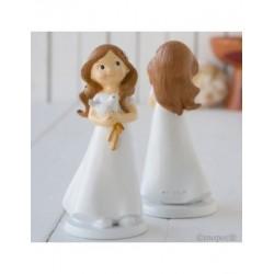 Figura pastel niña Comunión y paloma,16cms.