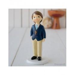 Figura pastís nen Comunió americana blau, 16cms.