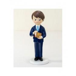Figura Comunió boy vestit blau i la Bíblia a la mà 17cm