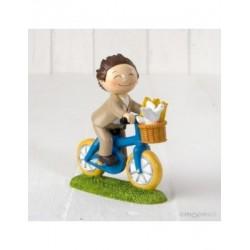 Figura pastel niño Comunión en bici 13,5cm.