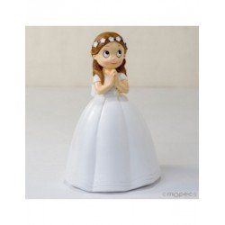 Figure Communion girl long gown and crown of flowers,16,5 cm