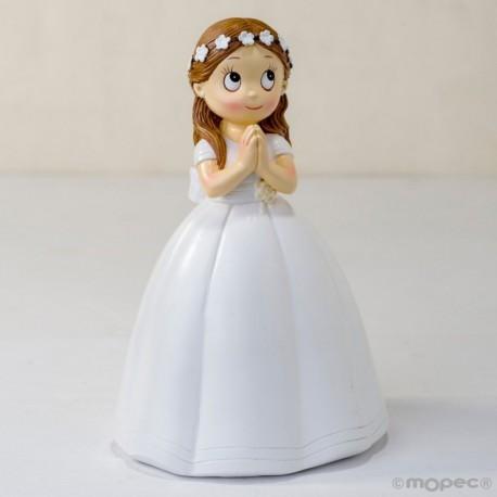 Figura Comunión niña vestido largo y corona flores,16,5cm.