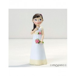Figura niña Comunión vestido romántico, 16,5cm.