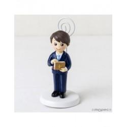 Photo holder boy Communion suit blue and bible, min.10