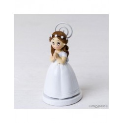 Titulaire de la Communion fille longue robe et la couronne de fleurs min.6