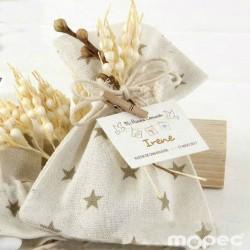 Bolsa algodón estrellas beige con espigas 5 peladillas choc.