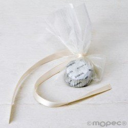 Embellishment 1bombón silver, satin ribbon, ivory color ,min.6*