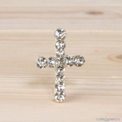 Brooch Cross rhinestone 2x3cm min.15 PROMOTION