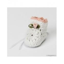 Bootie crochet white pink flower 3,5x4x5cm, min.6.P.SWEET