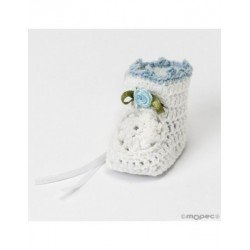 Bootie crochet white flower blue 3,5x4x5cm, min.6 Q. SWEET