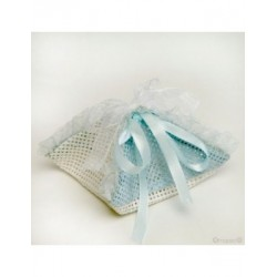 Scarf-blue raffia with ribbon, min.12P.SWEET