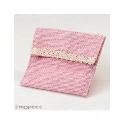 Bag pink with velcro 10x11,5cm. min.12